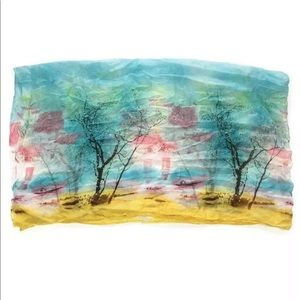 Watercolor tree design 100% silk scarf wrap